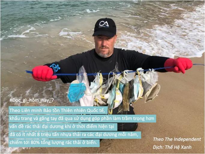 Khẩu trang và găng tay chống virus corona đã qua sử dụng đang là mối đe dọa đối với các đại dương