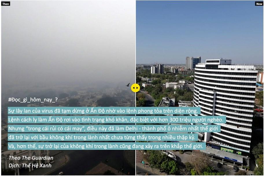 """""""Đó thật sự là những ngọn núi!"""": Sự khó tin tại các thành phố khi ô nhiễm không khí giảm xuống"""